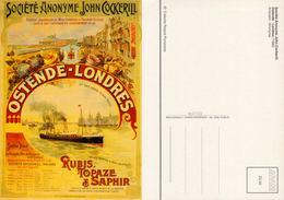 Ostende-Londres Société Anonyme John Cockerill - Reproduction D'affiche De 1888- Collection Florizoone - Oostende