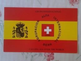 POSTAL TYPE POST CARD QSL RADIOAFICIONADOS RADIO AMATEUR AGRUPACIÓN ALFA BERN BERNA SUIZA ESPAÑA SCHWEIZ SPANIEN SUISSE - Tarjetas QSL