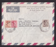 Iraq: Airmail Cover To USA, 1950s, 3 Stamps, King, 3 Values (minor Damage) - Irak
