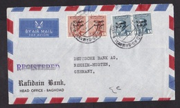 Iraq: Airmail Cover To Germany, 1950s, 4 Stamps, King, Overprint, Censor Cancel At Back, Sent By Bank (roughly Opened) - Irak