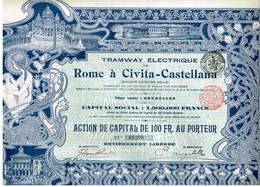 Titre Ancien - Tramway Electrique De Rome à Civita-Castellana - Titre De 1904 - Déco - Railway & Tramway