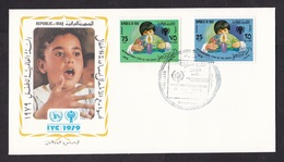 Iraq: FDC First Day Cover, 1979, 2 Stamps, Year Of Child, Children, Globe (white Tape At Back) - Irak