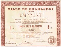 Titre Ancien - Ville De Charleroi - Emprunt 1919 - Non Classés
