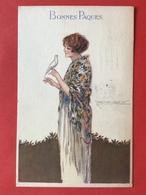 1923 - Illustrateur MAUZAN - DAME MET PRACHTIG KLEED EN WITTE DUIF - JUPE FANTASTIQUE ET COLOMBE BLANCHE - Mauzan, L.A.