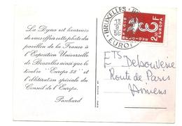 Carte Publicitaire Pour La Dyna Panhard - Exposition Universelle De Bruxelles + Timbre EUROPA 1958 -- PANHARD - Weltausstellungen