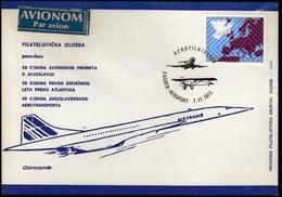 Yugoslavia Croatia Zagreb 1977 / 50 Y. Of Air Traffic / 30 Y. Of The Yugoslav Air Lines - JAT / Aerophilately / Concorde - Aviones