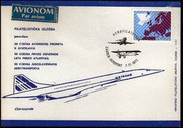 Yugoslavia Croatia Zagreb 1977 / 50 Y. Of Air Traffic / 30 Y. Of The Yugoslav Air Lines - JAT / Aerophilately / Concorde - Avions