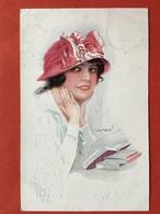 Illustrateur USABAL - JEUNE FEMME AVEC CHAPEAU ROUGE - JONGE VROUW MET RODE HOED - Usabal