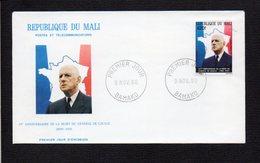 République Du Mali / 1980 Premier Jour / 10° Anniversaire De La Mort De Charles De Gaulle  / Cachet Bamako - De Gaulle (General)