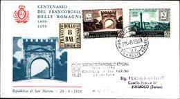 13254a)F.D.C.SAN Marino    Centenario Dei Francobolli Delle Romagne - 29 Agosto 1959 - FDC