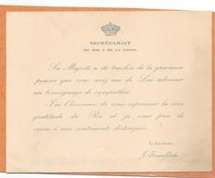 Carte De Remerciement, Avec Son Enveloppe Du Secrétariat Du Roi Et De La Reine De Belgique - 1915 - Weltkrieg 1914-18