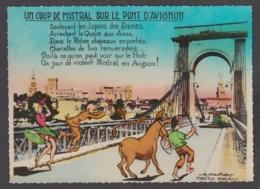 103235/ AVIGNON, Coup De Mistral Sur Le Pont - Avignon (Palais & Pont)
