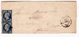 Lettre Paris 1852 Timbre Napoléon III Présidence  25 Centimes Bleu  Dijon Côte D'Or - 1852 Louis-Napoléon