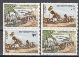 1979  Yvert Nº 339 / 342,  MNH,  Transportes Con Animales, Cebú, Elefante. - Laos