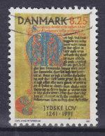 """Denmark 1991 Mi. 1002     8.25 Kr Jütländische Gesetzessammlung """"Jydske Lov"""" Handschrift (um 1280) - Dänemark"""