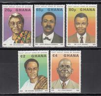 1980 Yvert Nº 652 / 656  MNH, JB Danquah, John Mensah Sarbah, J.E.K. Aggrey,  Kwame Nkrumah, G.E. Grant, - Ghana (1957-...)