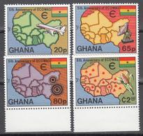 1980 Yvert Nº 684 / 687   MNH,  Mapas, Comunidad Económica De África Occidental - Ghana (1957-...)