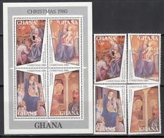 1980 Yvert Nº 692 / 695  HB 84,   MNH,  Navidad, Pinturas Angelicales - Ghana (1957-...)