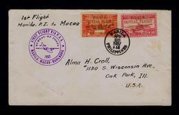 MANILA P.I.to -by MACAO 28-IV-1937 -HONGKONG Macao First Flight Via P.A.A. Avions Aviation Bureau Of Posts Sp6089 - Poste Aérienne