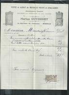 """Bouches Du Rhône"""" Facture Marius Guyonnet Vente Et Achat De Meubles  à Marseille - France"""