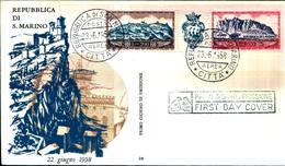 6819) SAN MARINO-200L.+300L.-FDC-Monte Titano - POSTA AEREA - 23 Giugno 1958 - FDC