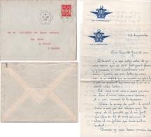 1961 Enveloppe Avec Cachet Hexagonal Du Porte-Avions Arromanches Et Son Courrier De 4 Pages - Marcophilie (Lettres)