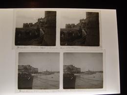 2 Plaques De Verre Stéréoscopiques Italie Brindisi 1916  Chateau Et Torpilleurs Marine Nationale - Plaques De Verre