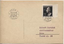 Böhmen & Mähren # 131 Einzelfrankatur Postkarte Prag 30.9.43, Reinhard Heydrich. Philatelistische, Aber Portogerechte Fe - Böhmen Und Mähren