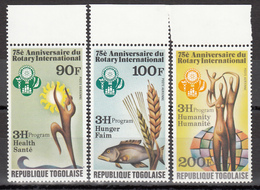 1980 Aéreo Yvert Nº 409 / 411  MNH,  Rotary International, 75 Aniversario - Togo (1960-...)