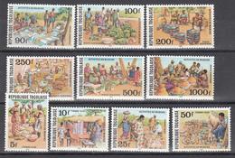 1981  Aéreo Yvert Nº 448 / 453, Tasas Nº 74 / 77, MNH, Actividades De Mercado. - Togo (1960-...)