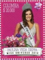 Lote 2015-5, Colombia, 2015, Sello, Stamp, Paulina Vega Dieppa, Miss Universe, Beautiful Woman - Colombia