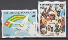 1982 Yvert Nº 1064 / 1065 MNH, 15º Aniversario De La Liberación Nacional - Togo (1960-...)