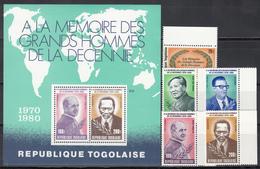 1981  Yvert Nº 993 / 994, A-431 / 433,  HB 141  MNH,  Hombres Famosos De La Década - Togo (1960-...)