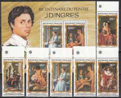 1980  Yvert Nº 990 / 992, A-428 / 430,  HB 140  MNH,  Pinturas Por JA Dominique Ingres - Togo (1960-...)