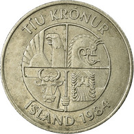 Monnaie, Iceland, 10 Kronur, 1984, TB+, Copper-nickel, KM:29.1 - Islande