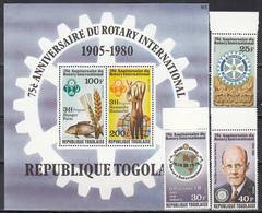 "1980  Yvert Nº 974 / 976,  HB 145  MNH, 75 Aniversario De La ""Rotary International"" - Togo (1960-...)"