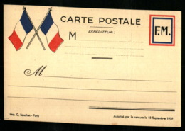 1939 - Carte Aux Drapeaux En Franchise Militaire - Autorisé Par La Censure Du 12 Septembre 1939 - Marcophilie (Lettres)