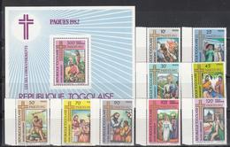 1982   Yvert Nº 1067 / 1073, A- 471 / 472, HB 162  MNH, Navidad,  Pascua De Resurrección - Togo (1960-...)