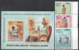 1981   Yvert Nº 1062, A-462 / 463, HB 160  MNH, Año Internacional De Las Personas Con Discapacidad - Togo (1960-...)