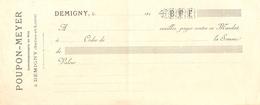 Mandat Du Commissionnaire En Vins Poupon-Meyer, Demigny (71), Années 1900, Vierge, Bon état - 1900 – 1949