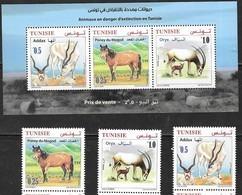TUNISIA, 2019, MNH, FAUNA IN DANGER OF EXTINCTION IN TUNISIA, HORSES, GAZELES, ORYX,3v+SHEETLET - Horses
