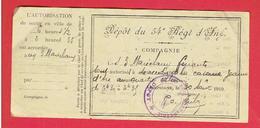 AUTORISATION DE SORTIE EN VILLE COMPIEGNE OISE 1919 DEPOT DU 54e REGIMENT D INFANTERIE CASERNES JEANNE D ARC ET OLENIN - Documents