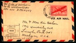 A.P.O. 303 - US Army IIIe Corps Artillery - Bureau Du Commandant Eisenhover - Ruhr ((avant à Metz) - 25/04/1945 - Marcophilie (Lettres)