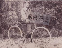 PHOTO ANCIENNE,62,PAS DE CALAIS,WIMEREUX,1900,VELO,CYCLISTE,HABITANT DE L'EPOQUE,RARE - Lieux