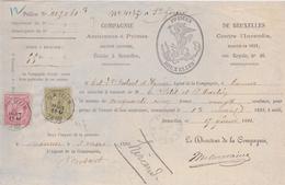 Doc. N° 46-47 Namur 1892 Compagnie - Assurance à Primes - 1884-1891 Léopold II