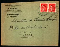 Obiltération Daguin Avec Publicité Touristique - Vichy - Allier - Marcophilie (Lettres)