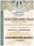 Titre Ancien - Anciens Etablissements Janssen - Chaussures Luxor - Titre De 1927 - Déco - Actions & Titres