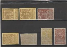COB N° 71/73 - 7 Essais De Couleurs Sur Papier Parcheminé Et Mince - Proofs & Reprints