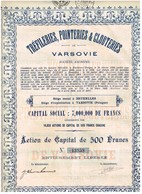 Titre Ancien - Tréfileries, Pointeries & Clouteries De Varsovie - Titre De 1929 - - Industrie