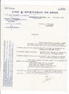 Courrier 1945 Alnot Frères, Vins, Dommartin-les-Toul (Moulins-les-Metz), à Lucien Foucauld & Cie Distillateur Cognac - Alimentaire